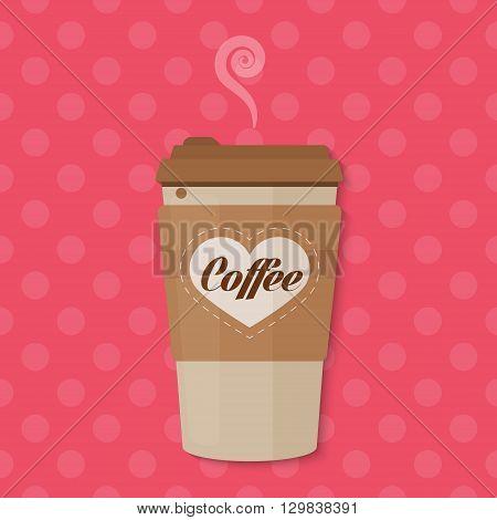Bright color Paper Coffee cup concept vector illustration