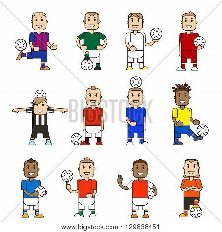 Set character soccer players football team standing white background. Vector flat illustration football player posing with the ball in different team uniforms. Ball in hands hits ball with foot.