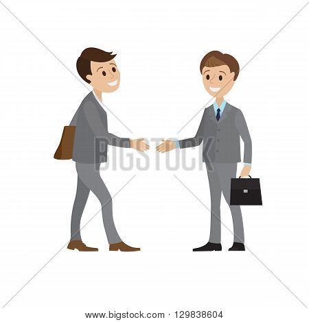 The meeting of two businessmen and business handshake. A young man in a business suit holds out his hand in greeting to the partner. Handshake of two men