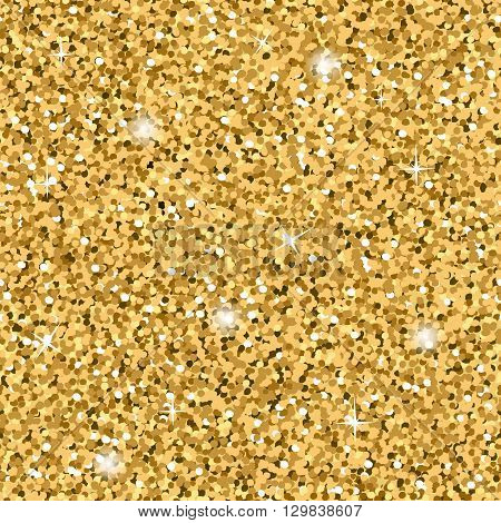 Gold Glitter Texture. Seamless sequins pattern. Lights and sparkles. Glowing New Year or Christmas background. Golden Dust. Design template for wallpaper wrapping fabric etc. Vector Illustration.