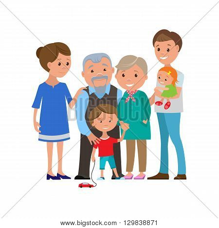 Vector illustration of happy family posing and smiling. Cartoon mother father boy baby and grandparents are standing together