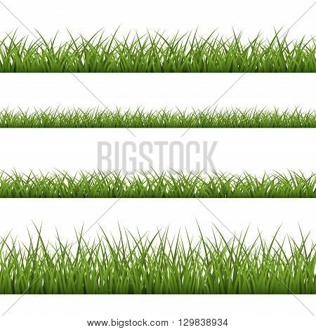 Green grass seamless pattern. Nature background design. Horizontal silhouette isolated on white background. Symbol of nature field lawn and meadow fresh summer. Design element Vector illustration