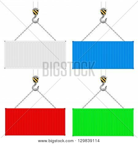 Shipping container. Crane hook. Vector illustration isolated on white background.