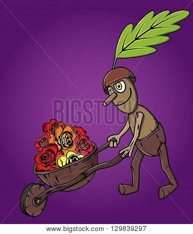 forest oak man wooden handcart full of flowers autumn season design