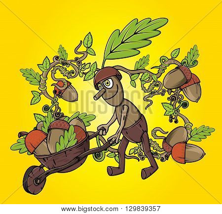 oak tree sprite harvesting accorns autumn season design