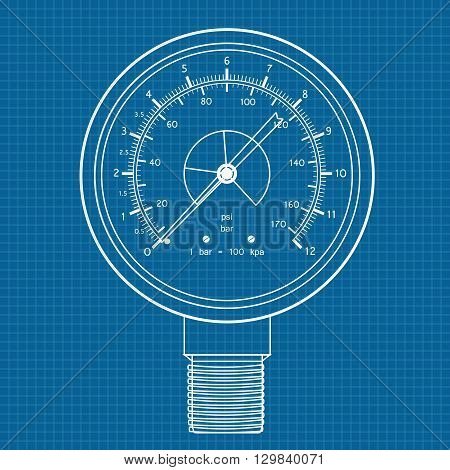 Gauge. Manometer icon. Vector illustration on blueprint background