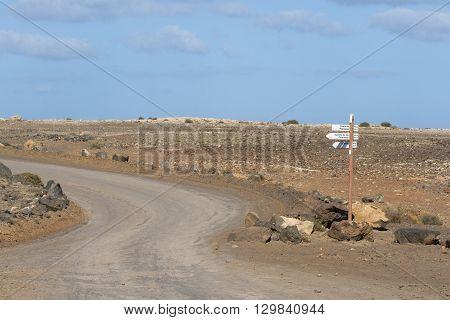 Dirt road Spain, Papagayo beach Lanzarote direction, Canarian islands