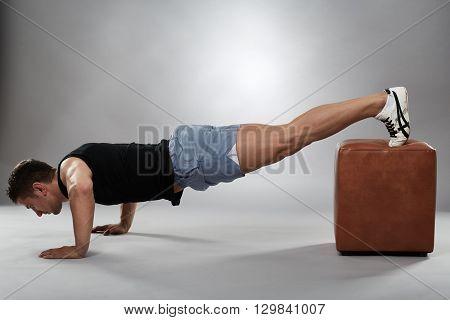 Fitness Model Doing Pushups
