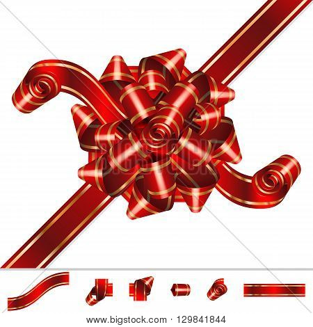 Red Bow-knot of solemn festive ribbon with curls and curves twists; Set of component elements; Eps10
