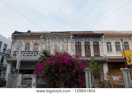 PENANG MALAYSIA - MAY 11 2016 : Sino-Portuguese House in George Town Penang Malaysia