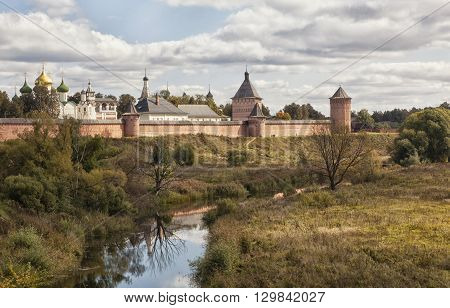 The monastery and river in Suzdal summer day