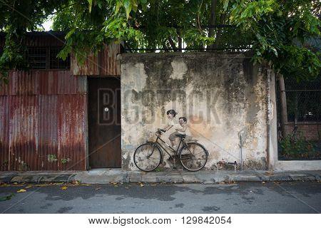 PENANG MALAYSIA - MAY 11: Street art titled