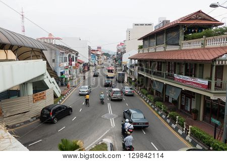 GEORGETOWN PENANG - MAY 11: Traffic jam road MAY 11 2016 in Georgetown Penang Malaysia