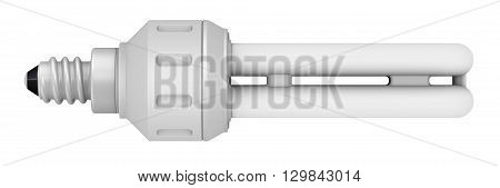 Powersave lamp on a white surface. Isolated. 3D Illustration
