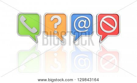 Communication theme - icons set. 3d illustration