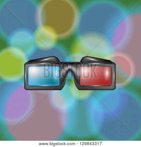 Glasses for Watching Movies on Colorful Blutted Backround