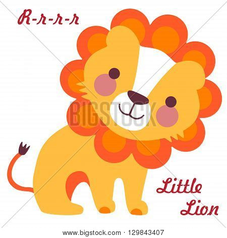 Vector illustration of cute little lion. Cartoon baby lion