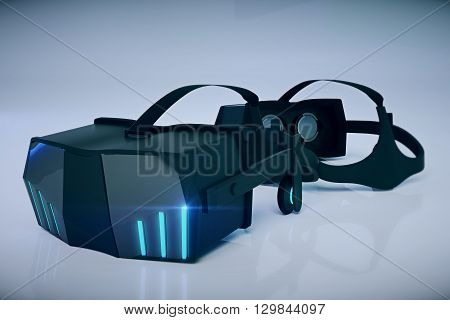 Closeup of virtual reality glasses on grey background. 3D Rendering