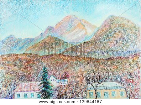 Panorama of the mountains, April, north Caucasus