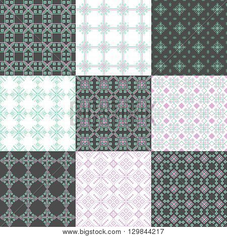 Set of seamless geometric linear patterns in grey blue and pink tones suitable for home textile design web design packaging Wallpaper-companions ceramic tile