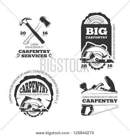 Vintage woodwork, sawmill vector labels, logos, badges and emblems. Badge industry woodwork and service logo carpentry or woodwork illustration