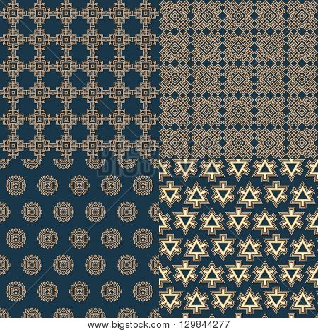 Set of seamless geometric linear patterns in blue brown tones suitable for home textile design web design packaging Wallpaper-companions ceramic tile