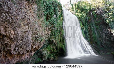 Wide angle view of waterfall at Monasterio de Piedra in Spain, long exposure