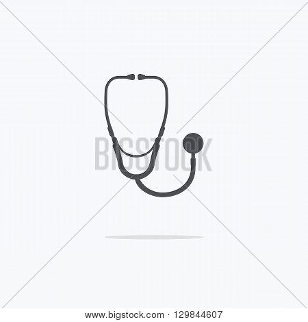 Medical stethoscope or phonendoscope icon. Vector illustration.
