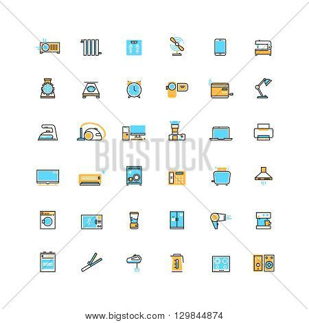 Home appliances and electronics devices vector icons. Electronic appliance for home and device technology appliance microwave and refrigerator illustration