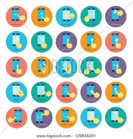 Gesture flat smart phones vector icons. Hands holding smartphone. Set of gesture for touchscreen device, icon finger gesture illustration