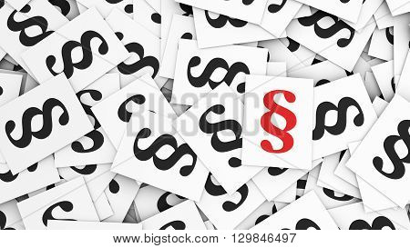 Law and legal rules concept with a red paragraph symbol and icon on top of many black scattered paragraphs paper notes 3d illustration background.