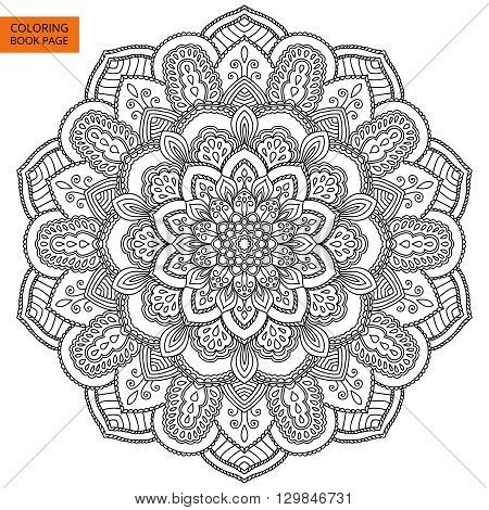 Black Mandala for coloring book. Line mandala isolated on white background. Outline mandala for coloring page. Intricate mandala design. Vector mandala.