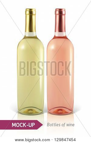 Mockup realistic bottles of white and rose wine on a white background with reflection and shadow. Template for wine label design.