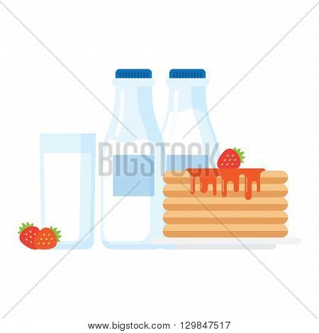 Healthy breakfast illustration stack of pancakes with syrup strawberries and glass of milk. Modern flat vector icon.