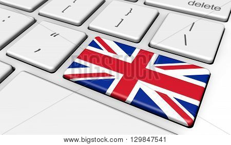English online school and United Kingdom use of digital technology with the UK union jack flag on a computer key 3d illustration.