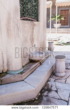 place where Muslim believers cleaning their feet before entering the Mosque