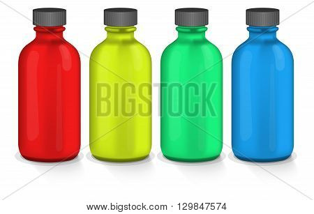 Photorealistic colorful plastic bottles on white background