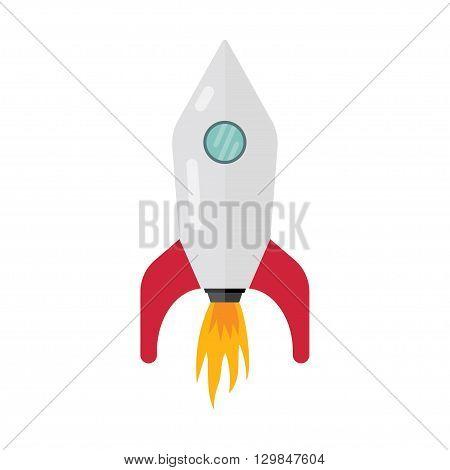 Space rocket ship start cartoon futuristic travel emblem vector illustration Start Up Concept