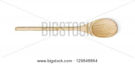 One wooden spoon on the white background. Kitchen equipment.