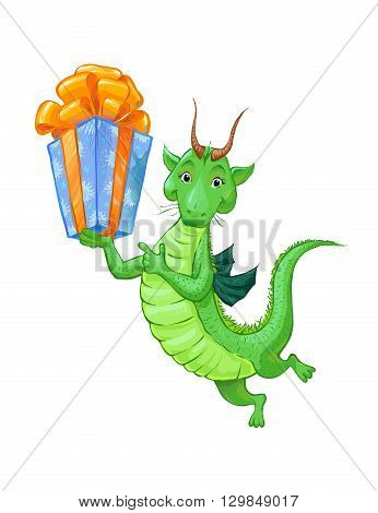 A cute little green dragon with a gift. Cartoon sketch of a dragon is suitable for children's postcard