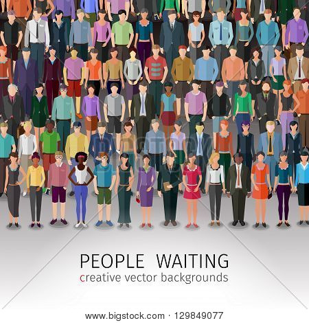 huge crowd of different vector people standing in rows