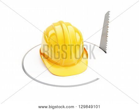 saw construction helmet 3D illustrationon a white background