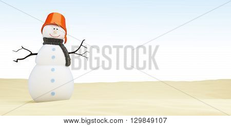 Snowman on the beach 3D rendering concepts