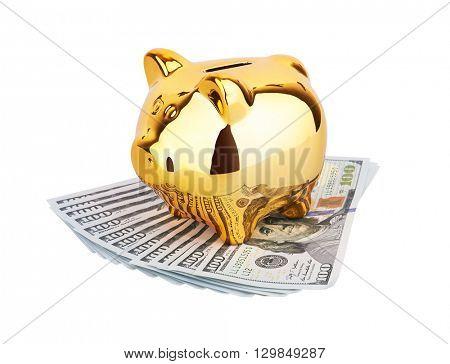 Piggy Money Box with dollars, isolated on white background