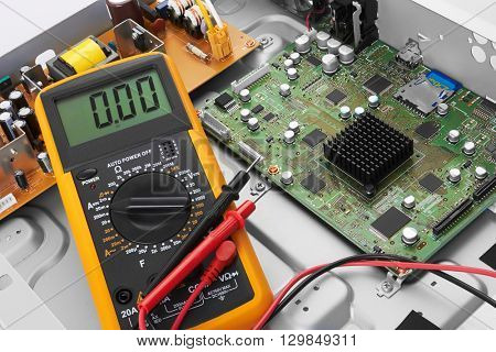 Repair electronic circuit board, close-up
