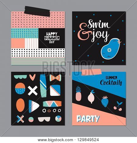 Cute Hello Summer Art Posters with Trendy Summer Elements. Summer Typographic. Scandinavian Style. Vector. Isolated. Good for Greeting Cards, Gift Tags, Stickers, Placards and Labels Templates.