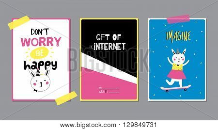 Cute Posters with Trendy Animal Elements. Quote Typographic. Scandinavian Style. Vector. Isolated. Dont Worry, Be Happy. Good for Cards, Gift Tags, Stickers and Placards