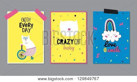 Cute Posters with Trendy Animal Elements. Quote Typographic. Scandinavian Style. Vector. Isolated. Enjoy Every Day. Good for Cards, Tags, Stickers and  Placards