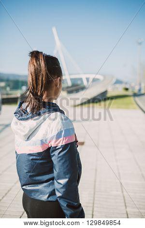 Runner Female Woman Back Outdoors
