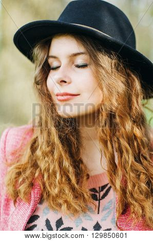 Portrait Young Elegant Woman In Pink Coat And Black Hat. Fashion